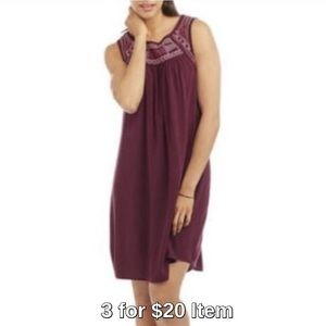 Dresses & Skirts - Last 1! Embroidered Gauze Dress in Eggplant